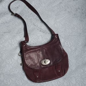 Fossil leather and suede wine coloured cro…